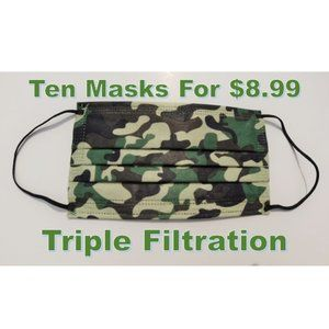 Camouflage Face Mask 3 Ply 10 Masks